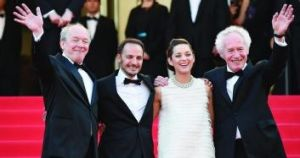 The team: Director Luc (left) and Jean-Pierre Dardenne (far right) with actors Fabrizio Rongione and Marion Cotillard at ...