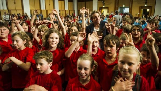 In tune with children: Olympian Matthew Mitcham  joined North Ainslie Primary Students at the <i>Music: Count Us In</i> ...