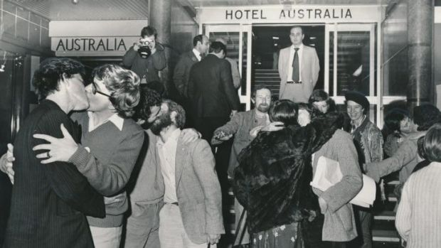 Melbourne, 1979. Protesters kiss outside the Australia Hotel after two men were convicted of the charge of offensive ...