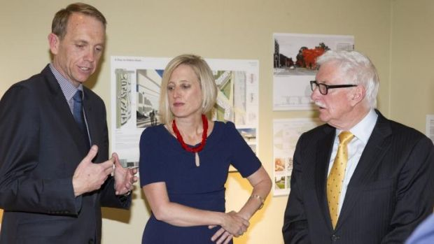 Capital Metro Minister Simon Corbell, Chief Minister Katy Gallagher and Capital Metro Agency Project Board chairman John ...