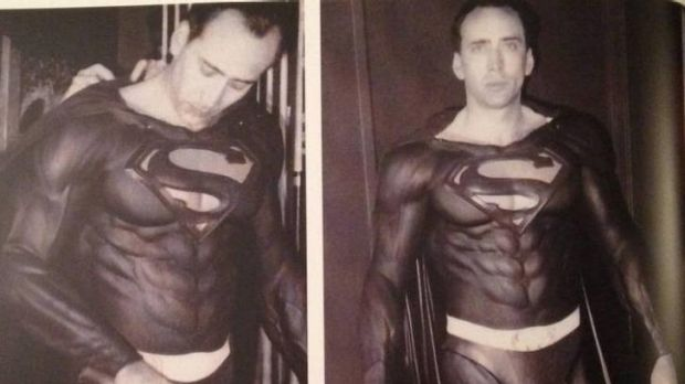 Nicolas Cage is fitted for a costume for <i>Superman Lives</i>, the planned Tim Burton film that collapsed on the eve of ...