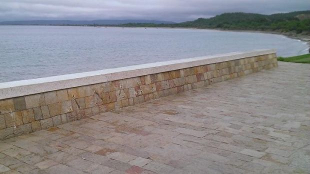 The wall at Anzac Cove in Turkey from where the metal letters were stolen.