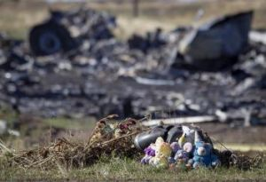 Toys placed in front of the crash site on October 15.