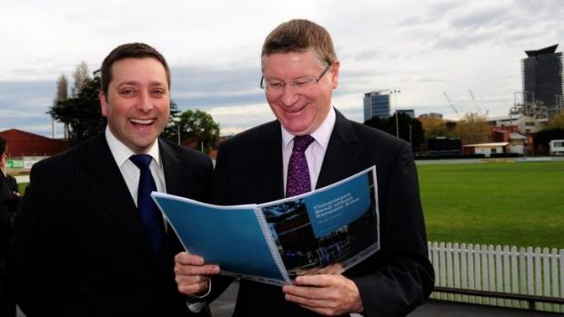 Excitement: The Victorian Premier Denis Napthine and Planning Minister Matthew Guy announced that Fishermans Bend will ...