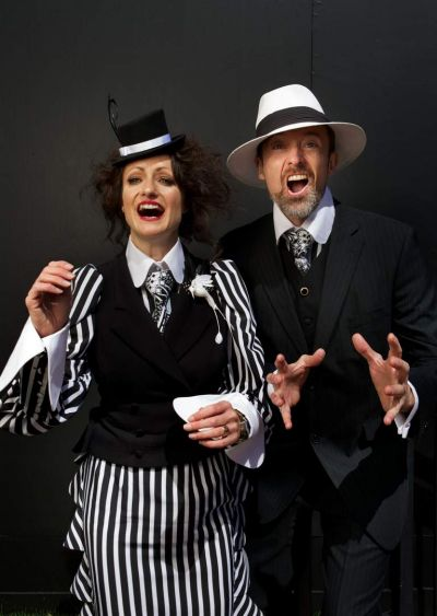 Jessica Lawrence in her own creation and her husband Frank Handrum in an outfit also designed by Jessica.