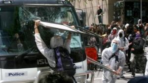 A protest against the 2006 summit turned violent when protesters marched towards the venue throwing bottles, flares and ...