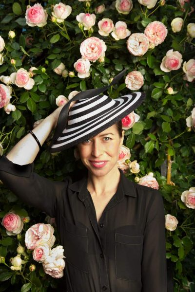 Sarah Eagle in a Phillip Tracey hat and her Grandmother's blouse.