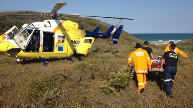 Crash victim airlifted from Fraser Island.