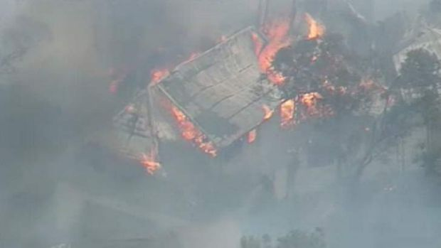 A house is destroyed by fire on Cliff Drive at Katoomba.