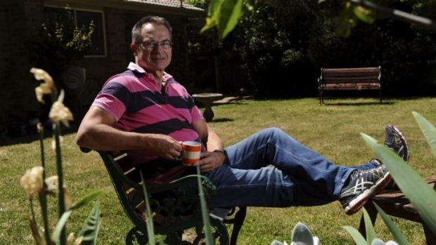 Back to base: Jon Stanhope relaxes at home in Bruce after returning from Christmas Island.