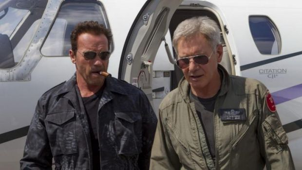 He said he'd be back: Arnold Schwarzenegger, left,  and Harrison Ford in <i>The Expendables 3</i>.