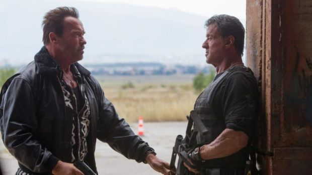 Arnold Schwarzenegger, left, and Sylvester Stallone in <i>The Expendables 3</i>.