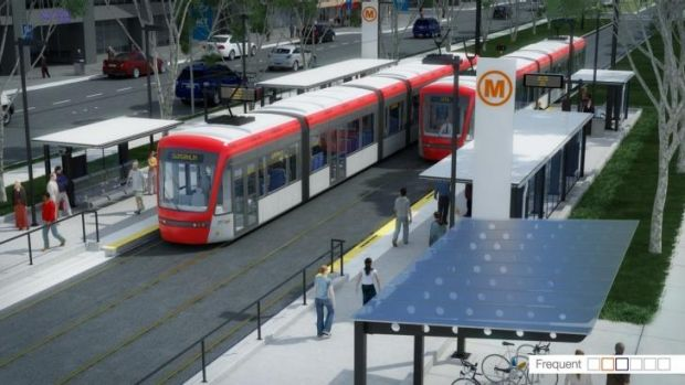 An artist's impression of the light rail proposed to run from Civic to Gungahlin.
