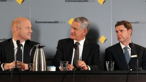 Commonwealth Bank chief executive Ian Narev (left), chairman David Turner and chief financial officer David Craig.