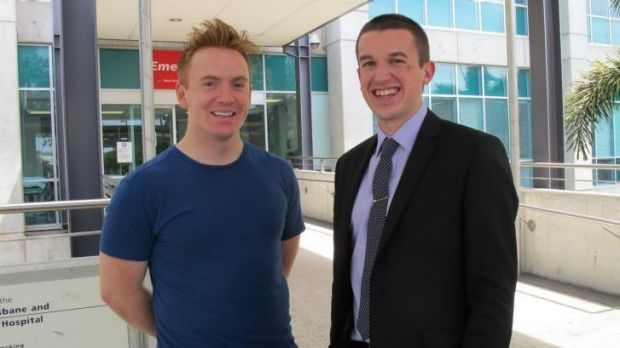 Nurse Chris Goodall (left) and former patient James Aitken reunited at the Royal Brisbane and Women's Hospital.