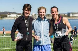 Canberra Times Fun Run 10km female winners Jackie Fairweather (2nd) Fleur Flanery (1st) and Kim Wilmshurst (3rd).