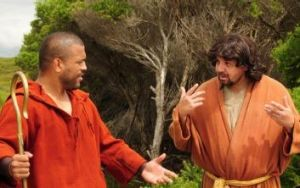 Aaron Fa'aoso (left) and John Bell in Black Comedy.