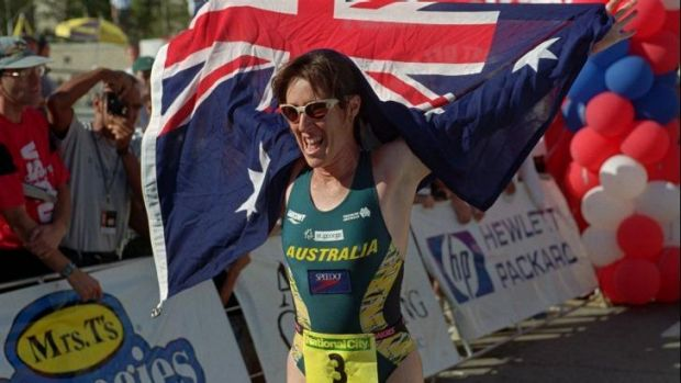 Australia's Jackie Fairweather (nee Gallagher) celebrates her victory in the Triathlon World Championship in 1996.