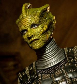 Neve McIntosh transformed into a Silurian for Doctor Who.