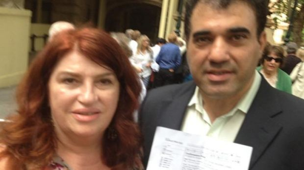 Flew from Perth: Penelope Robinson and Omid Namdar, denied entry despite receiving an email.