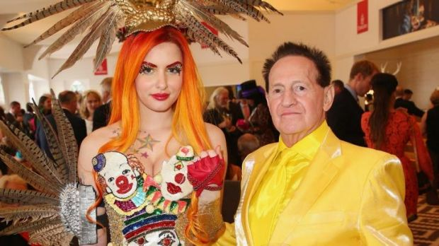 The happy couple: Gabi Grecko shows off her engagement ring with Geoffrey Edelsten.