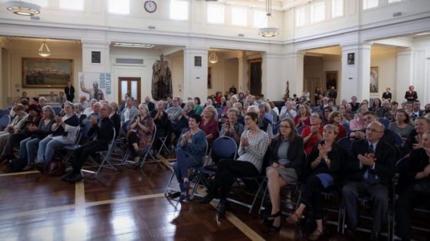 King's Hall in Old Parliament House in Canberra hosted a screening of the Gough Whitlam memorial service broadcast from ...