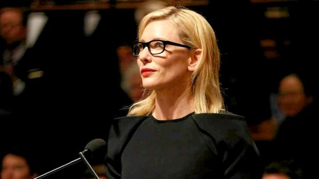 Cate Blanchett delivers her speech at the state memorial service for Gough Whitlam at Sydney Town Hall on Wednesday.