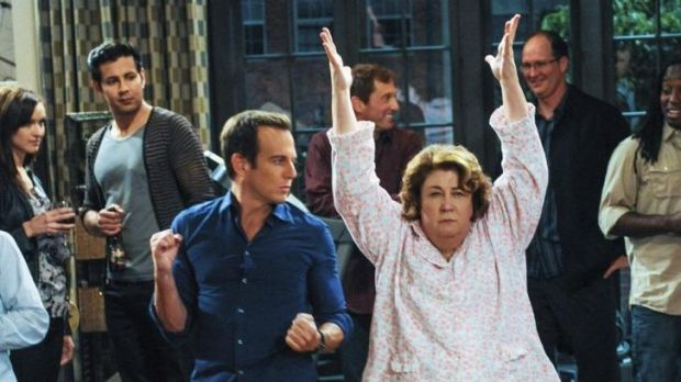 Will Arnett (Nathan) and Margo Martindale (Carol) express themselves in <i>The Millers</i>.