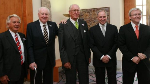Previous gathering: Bob Hawke, Gough Whitlam, Malcolm Fraser, Paul Keating and Kevin Rudd at the apology to the stolen ...
