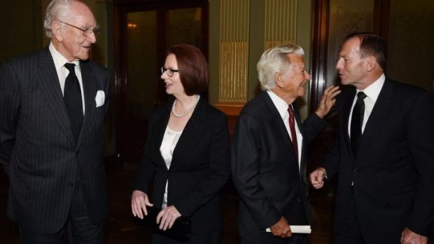 Former prime ministers  Malcolm Fraser, Julia Gillard, Bob Hawke and Tony Abbott at the memorial service on Wednesday.