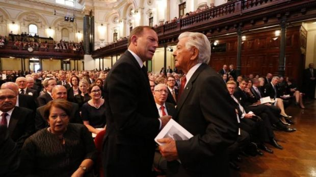 Tony Abbott and Bob Hawke at the memorial inside Sydney Town Hall.