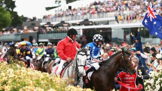 Dwayne Dunn riding Araldo (in background) is frightened by a racegoer holding an Australian flag as he returns to the ...