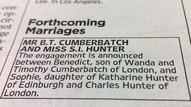 Benedict Cumberbatch's engagement announcement in <i>The Times</i>.