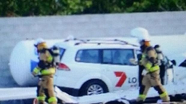 A stolen Seven News car was crashed into a gas tank at a service station at Eumundi, near Noosa.