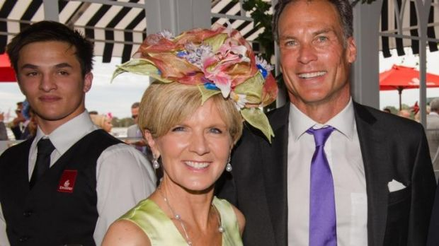Julie Bishop and David Panton at the Emirates marquee.