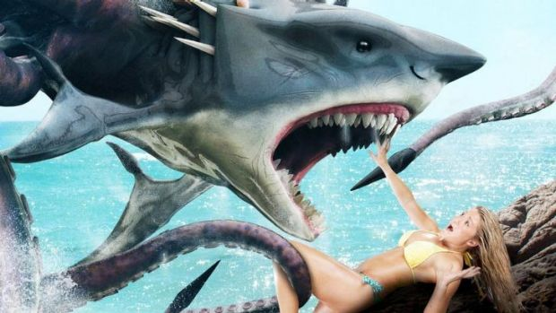 Teeth and tentacles terrify in <i>Sharktopus</i>.