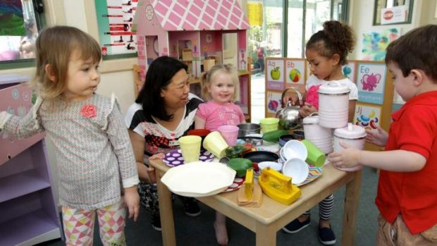 Anna Chan at the KU Childcare Centre in Concord, Sydney, where she has worked for 30 years with children.