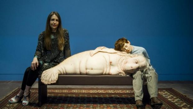 Patricia Piccinini at the opening of the <i>In The Flesh</i> exhibition at the National Portrait Gallery.