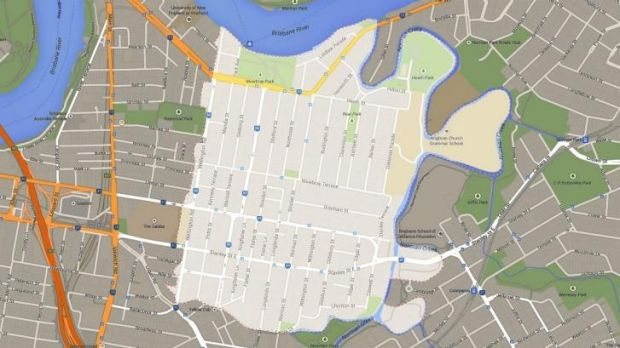 The current boundaries of the suburb of East Brisbane.