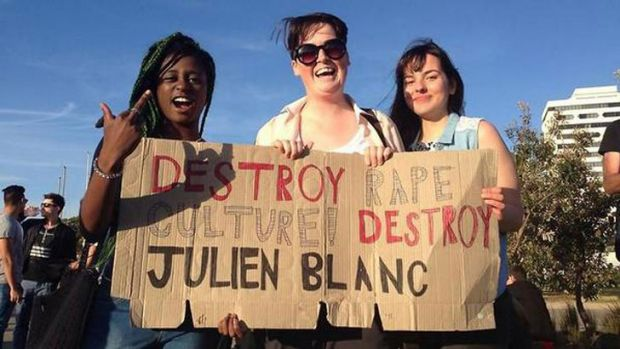 Blanc it ban: protesters make their point in Melboourne.