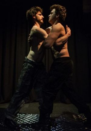 Confronting: Ethan Gibson and James Hughes in Scandalous Boy.