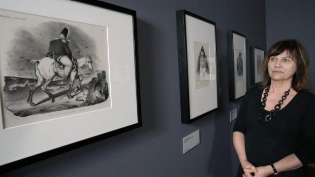 National Gallery of Australia senior curator of international prints Jane Kinsman with works by Honore-Victorin Daumier ...
