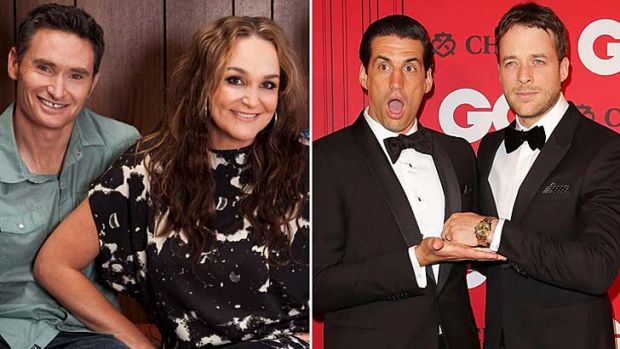 Dave Hughes and Kate Langbroek, and Andy Lee with Hamish Blake.