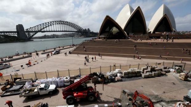 The view of the Sydney Opera House is marred by building works.
