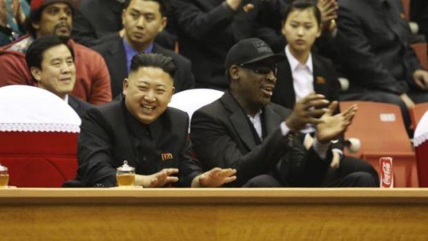 North Korean leader Kim Jong-un and former NBA star Dennis Rodman in Pyongyang.