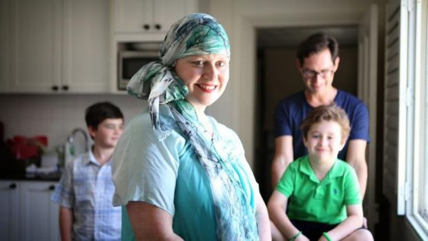 Source of hope: Lack of information was terrifying for Anne Maree Mulders, pictured with her husband Christian and sons ...
