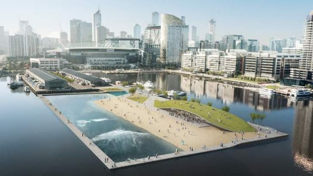Surf in the city: an artist's impression of the Docklands wave pool.