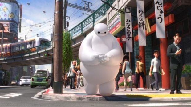 Animated character Baymax, voiced by Scott Adsit, in <i>Big Hero 6</i>.