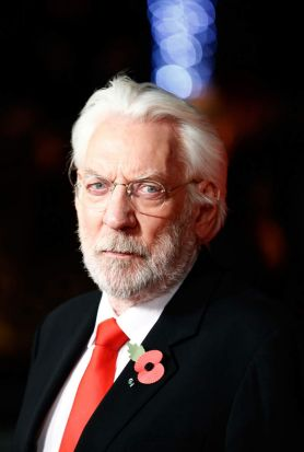 Donald Sutherland at the world premiere of <i>The Hunger Games: Mockingjay Part 1</i> in Leicester Square, London.