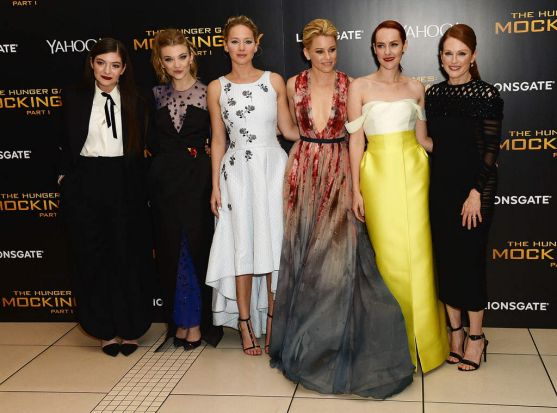 Lorde, Natalie Dormer, Jennifer Lawrence, Elizabeth Banks, Jena Malone and Julianne Moore at the world premiere of ...
